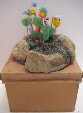 Old Rare Rock Garden Landscape w/ Glass Flowers in Box - Christmas Putz Village