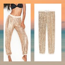 Victoria's Secret Gold Sequin Joggers Sleep Size L NWT