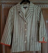 Orla Kiely Women's Blazer-Natural + Tan with Numbered Houses-Size-2