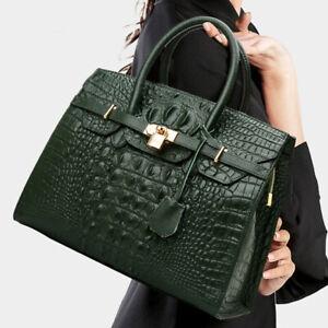 100% Genuine Leather Women's Elegant Crocodile Handbags Satchel Tote Designer