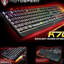 Motospeed K70 LED Illuminated Backlit USB Wired Waterproof Gaming Keyboard PC
