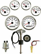 6 gauge set with senders 200km/h speedo tacho fuel volts oil pressure temp white