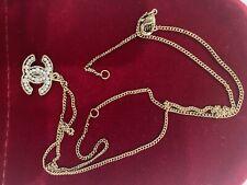 Authentic Chanel CC Logo Necklace Black Gold Tone
