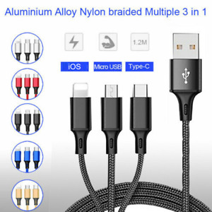 Universal 3 in 1 Multi USB Cable Fast Charger Type C Lead For IOS Samsung iPhone