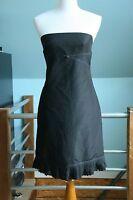 J CREW DRESS 4 BLACK STRAPLESS TAFFETA BRIDESMAID COCKTAIL 100% Silk