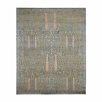 8'x10' Cypress Tree Design Silk With Textured Wool Hand Knotted Rug R47575