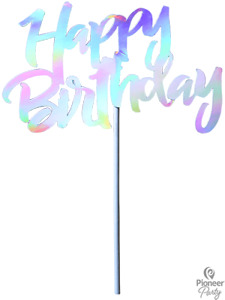 Happy Birthday Torten Topper Iridescent 13 x 5.3cm Kuchen Topper Geburtstag Deko