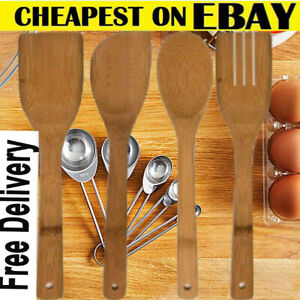 4 x BAMBOO SPOONS Wooden Spatula Spoon Kitchen Cooking Utensils Turner Tools Set
