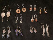 Lot Vtg Silver & Semi Precious Stone Dangle Earrings Boho Hippie Amethyst Amber