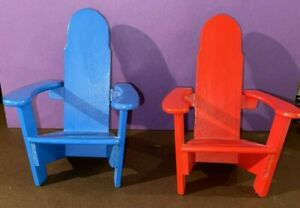 NWOT Small Doll Size Blue & Red Wooden Adirondack Chairs 5x5x3 (Price is for 2)