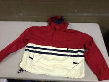 Vintage Mens S Tommy Hillfiger Red White Blue Wind Breaker Jacket Hooded (c43)
