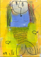 20122709 e9Art ACEO Mermaid Outsider Art Painting Brut Contemporary Expressionis