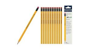 12 Staedtler Yellow 134 HB Pencil with Eraser Tip   Extra Smooth writing