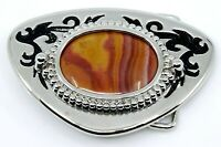Big Belt Buckle Western Wear Brown Orange Banded Polished Stone Silvertone