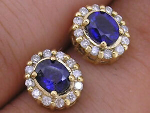E061- Gorgeous 9ct Gold NATURAL Sapphire & Diamond Oval Cluster Earrings Studs