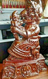 Whacky Antique Irridescent Glazed Cast Iron Judy Door Stop Punch and Judy 4.5kg
