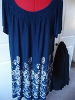George size 22 navy and white tunic top with elasticated neckline.