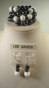 Lee Sands Wacky Friday Hematite/White Agate Coil BR & ER Set