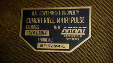 CUSTOM ALIENS M41A1 PULSE RIFLE SERIAL DATA PLATE PROP
