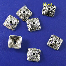 20pcs Tibetan Silver color square textured bead caps findings h0090