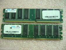 QTY 2x 1GB DDR 400Mhz PC3200 non-ECC desktop memory Brand Edge