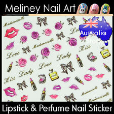Rose Perfume lipstick Bow Pink Purple black Nail Art Stickers decoration Kiss