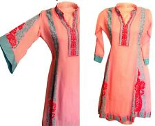 Hot pink Blue Indian Kaftan Tunic Embroidered Ethnic S Traditional Bell Sleeves