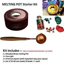 SET- Wax Furnace Pot, Brass / Steel Spoon, +1 Wax Beads Jar, Seal Stamp Craft UK