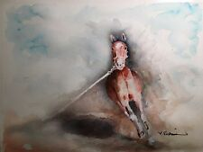 "A-692 Original Watercolor Painting ""Warm up"" Gift Idea Horse Farm Cheval riding"