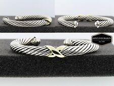 David Yurman X Cable Bracelet Two-Tone Yellow Gold & Silver Medium Size 7mm