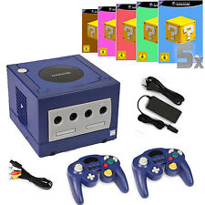Nintendo Gamecube Konsole Blau ►2x CONTROLLER NEU ►ALLE KABEL NEU ►5 SPIELE ►2