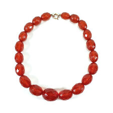 """VINTAGE GRADUATED FACETED BAKELITE BEADS 16"""" NECKLACE FAUX AMBER 43.6 G TESTED"""