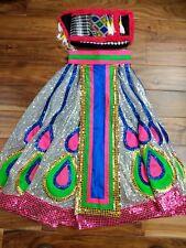 "Asian Chinese Girls Sequin Dance Show Performer Costume Dress Skirt Handmade 24"""