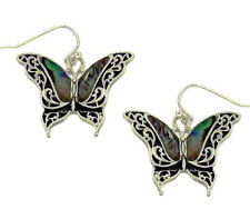 Silvertone Abalone Butterfly Earrings Silver Plated Gift Boxed Fast Shipping