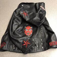 Harley Davidson Leather Studded Motorcycle Biker Jacket Patched Devil Stars WOW