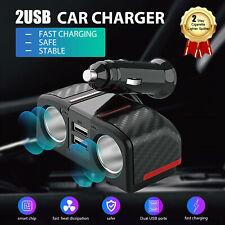 2 way Car Cigarette Lighter Socket Splitter Dual Usb Charger Power Adapter 12 V