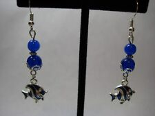 Earrings with 6.85ctw 6 & 8mm Blue Sapphires in 925 Sterling Silver