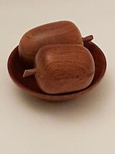 Hand Carved Small Wooden Acorns In Wooden Bowl (B3)
