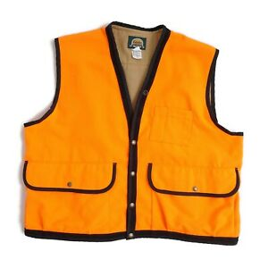 Cabela's Mens Vest Hunting Shooting Safety Orange Button Up Size XL Made in USA