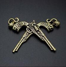 Handmade Brass Skull Mexican style Revolver Pendant Engraving Christmas Gift