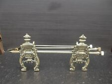 Antique Brass  Andirons Dogs Companion Set