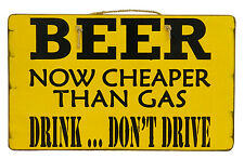 """Beer Now Cheaper Than Gas Rustic Primitive Tiki Bar Sign  12"""" x 20"""""""