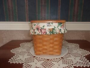 Longaberger 1996 Tall Tissue Basket Set with Lid - Garden Splendor