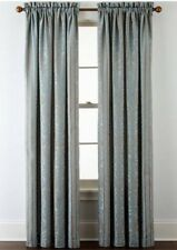 Brittany Set Of 2  Rod-Pocket Curtain Panel 50inX84 in Blue