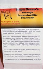 Papa Greco's, LLC homemade Bratwurst sausage seasoning mix