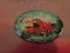 "Painted Christmas Pin Russia MCTERA TPONKA 2 1/4"" Safety Pin Back"