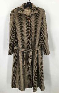 Cojana Womens Vintage Dress Coat Brown Chevron Mohair Blend Belted Buttons 12