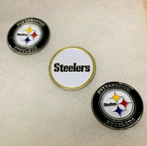 NEW Pittsburgh Steelers Nice Set of 3 Metal Double Sided Logo Golf Ball Markers