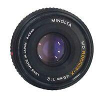 Minolta MD Mount Rokkor-X 45mm 1:2 F2 f/2 Prime Full Frame Lens