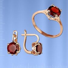 Russische Rose Rotgold 585  Goldset mit Granat. Neu  Glänzend.